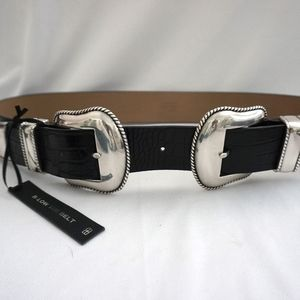Low the Belt Black Bri Bri & Silver Large Belt
